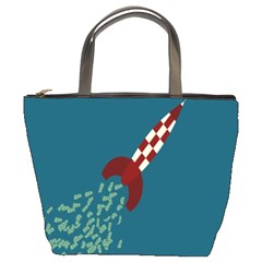 Rocket Ship Space Blue Sky Red White Fly Bucket Bags