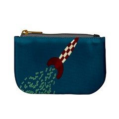 Rocket Ship Space Blue Sky Red White Fly Mini Coin Purses by Mariart