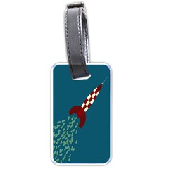 Rocket Ship Space Blue Sky Red White Fly Luggage Tags (one Side)  by Mariart