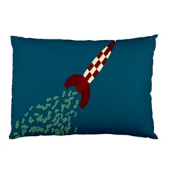 Rocket Ship Space Blue Sky Red White Fly Pillow Case (two Sides) by Mariart