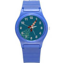 Rocket Ship Space Blue Sky Red White Fly Round Plastic Sport Watch (s) by Mariart