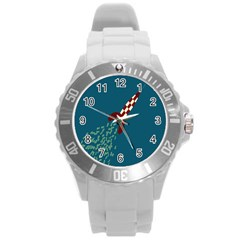 Rocket Ship Space Blue Sky Red White Fly Round Plastic Sport Watch (l) by Mariart