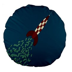 Rocket Ship Space Blue Sky Red White Fly Large 18  Premium Round Cushions by Mariart