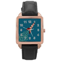 Rocket Ship Space Blue Sky Red White Fly Rose Gold Leather Watch  by Mariart
