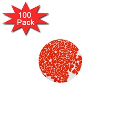 Red Spot Paint White 1  Mini Buttons (100 Pack)  by Mariart