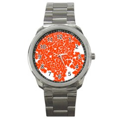 Red Spot Paint White Sport Metal Watch