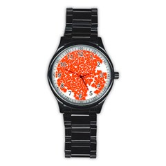 Red Spot Paint White Stainless Steel Round Watch by Mariart