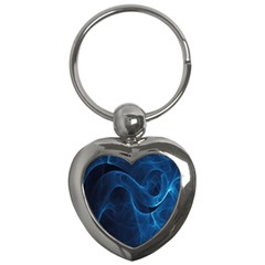 Smoke White Blue Key Chains (heart)  by Mariart