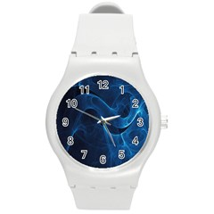 Smoke White Blue Round Plastic Sport Watch (m) by Mariart