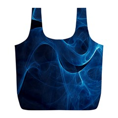 Smoke White Blue Full Print Recycle Bags (l)  by Mariart
