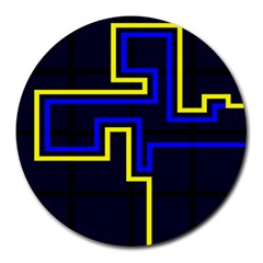 Tron Light Walls Arcade Style Line Yellow Blue Round Mousepads by Mariart