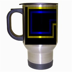 Tron Light Walls Arcade Style Line Yellow Blue Travel Mug (silver Gray) by Mariart