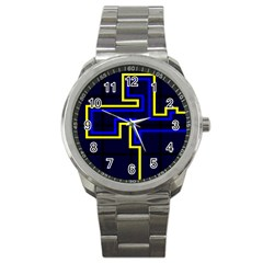 Tron Light Walls Arcade Style Line Yellow Blue Sport Metal Watch by Mariart