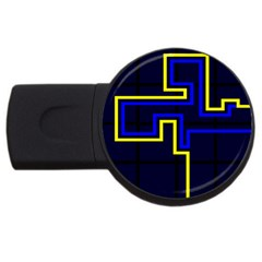 Tron Light Walls Arcade Style Line Yellow Blue Usb Flash Drive Round (4 Gb)