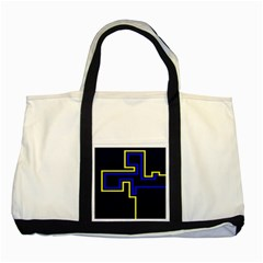 Tron Light Walls Arcade Style Line Yellow Blue Two Tone Tote Bag by Mariart