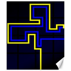 Tron Light Walls Arcade Style Line Yellow Blue Canvas 8  X 10  by Mariart