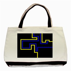 Tron Light Walls Arcade Style Line Yellow Blue Basic Tote Bag (two Sides) by Mariart