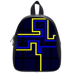 Tron Light Walls Arcade Style Line Yellow Blue School Bags (small)  by Mariart