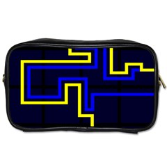 Tron Light Walls Arcade Style Line Yellow Blue Toiletries Bags by Mariart