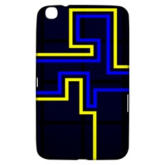 Tron Light Walls Arcade Style Line Yellow Blue Samsung Galaxy Tab 3 (8 ) T3100 Hardshell Case  by Mariart