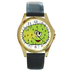 Thorn Face Mask Animals Monster Green Polka Round Gold Metal Watch by Mariart