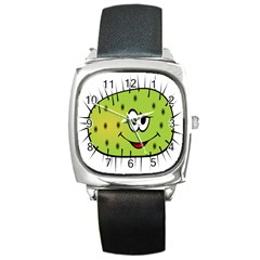 Thorn Face Mask Animals Monster Green Polka Square Metal Watch by Mariart