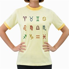 Twelve Signs Zodiac Color Star Women s Fitted Ringer T Shirts