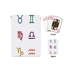 Twelve Signs Zodiac Color Star Playing Cards (mini)  by Mariart