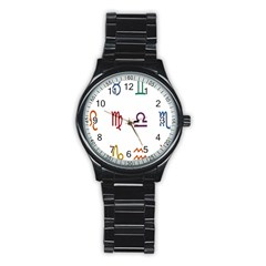 Twelve Signs Zodiac Color Star Stainless Steel Round Watch by Mariart