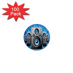 Sound System Music Disco Party 1  Mini Magnets (100 Pack)  by Mariart