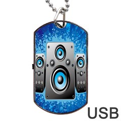 Sound System Music Disco Party Dog Tag Usb Flash (one Side) by Mariart