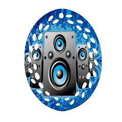 Sound System Music Disco Party Oval Filigree Ornament (two Sides) by Mariart