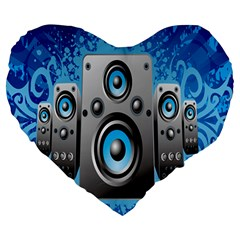 Sound System Music Disco Party Large 19  Premium Heart Shape Cushions