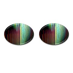 Screen Shot Line Vertical Rainbow Cufflinks (oval) by Mariart