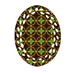 Kiwi Like Pattern Oval Filigree Ornament (two Sides) by linceazul