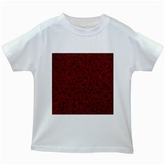 Red Roses Field Kids White T Shirts by designworld65