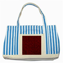 Red Roses Field Striped Blue Tote Bag by designworld65
