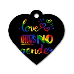 Love Knows No Gender Dog Tag Heart (one Side)