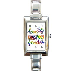 Love Knows No Gender Rectangle Italian Charm Watch