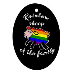 Rainbow Sheep Oval Ornament (two Sides) by Valentinaart
