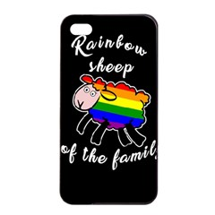 Rainbow Sheep Apple Iphone 4/4s Seamless Case (black) by Valentinaart