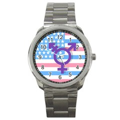 Transgender Flag Sport Metal Watch by Valentinaart