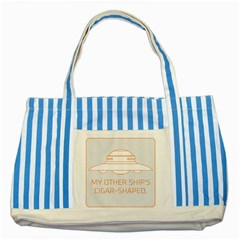My Other Ship s Cigar Shaped Striped Blue Tote Bag by RakeClag