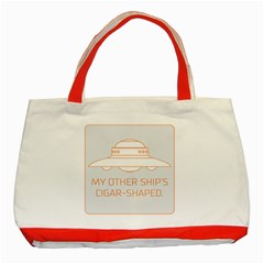 My Other Ship s Cigar Shaped Classic Tote Bag (red) by RakeClag