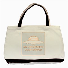My Other Ship s Cigar Shaped Basic Tote Bag (two Sides) by RakeClag
