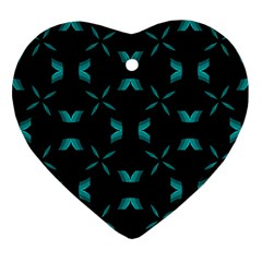 Background Black Blue Polkadot Ornament (heart) by Mariart
