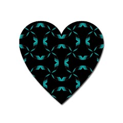 Background Black Blue Polkadot Heart Magnet by Mariart