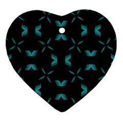 Background Black Blue Polkadot Heart Ornament (two Sides) by Mariart