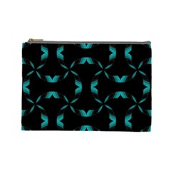 Background Black Blue Polkadot Cosmetic Bag (large)  by Mariart