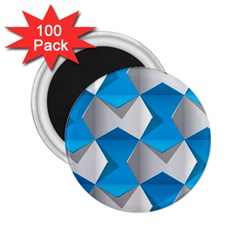 Blue White Grey Chevron 2 25  Magnets (100 Pack)  by Mariart
